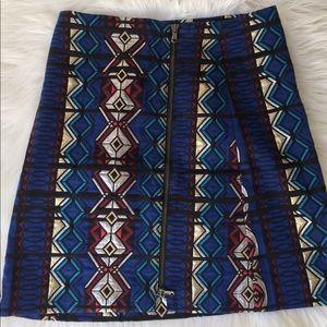 J.Crew Mini Zip Windowpane Metallic Skirt